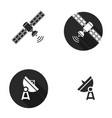 satellite silhouoette flat icons vector image