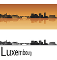 Luxembourg skyline in orange background vector image vector image
