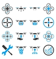 Flying drone flat bicolor icons vector image