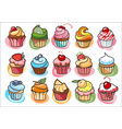 15 colorful delicious cupcakes vector image vector image