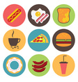 Fast food icons set for menu cafe and restaurant vector image