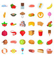 fresh fruit icons set cartoon style vector image