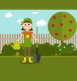 garden background farmer vector image