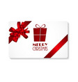 Gift Card with Red Bow and Ribbon Merry Christmas vector image