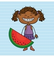 girl cartoon fruit food vector image