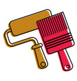 roller paint and brush renovation and repair tools vector image