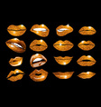 Set of 16 glamour lips with orange lipstick colors vector image