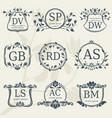 vintage elegance wedding monograms with floral vector image