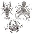 Zentangle stylized Octopus King Crab Crayfish Hand vector image