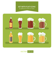Set with flat icons of different kinds of beer vector image vector image