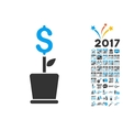 Business Project Plant Icon With 2017 Year Bonus vector image