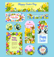 easter egg floral tag and greeting poster set vector image