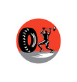 Tire Sledgehammer Workout Woodcut vector image vector image
