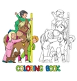 Coloring book with children and a pony vector image