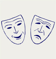 Classic comedy-tragedy theater masks vector image vector image