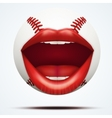 Baseball ball with a talking female mouth vector image