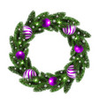 christmas wreath with lilac balls vector image