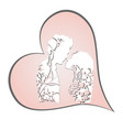 couple in love silhouette with floral ornament in vector image