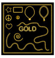 Set of golden chains gold jewelry vector image