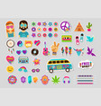 hippie bohemian design with icons set stickers vector image vector image