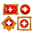 flag of switzerland in different frames vector image vector image