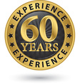 60 years experience gold label vector image