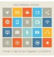 Multimedia icons Multicolored square flat buttons vector image