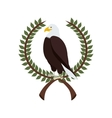 eagle in crown formed with olive branch vector image