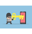 Thief or hacker hacking smartphone by key vector image