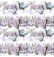 Watercolor winter forest landscape vector image
