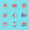 Computer and devices icons icon set in flat design vector image