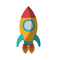 Colorful silhouette of space rocket with two vector image