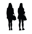 girl with purse silhouette black vector image