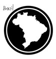 white map of brazil on black circle vector image