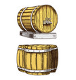 wine or rum beer classical wooden barrels for vector image