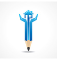 Save home concept with pencil hands vector image vector image