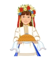 Girl in ukrainian clothes with round loaf vector image vector image