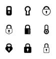 black locks icons set vector image
