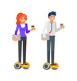business characters riding howerboard vector image