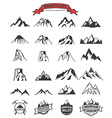 mountains labels and design elements set vector image