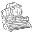 outline combine-harvester vector image