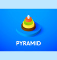 pyramid isometric icon isolated on color vector image
