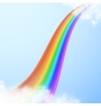 Realistic bright rainbow in clouds on transparent vector image