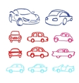Set of cars icons made marker vector image