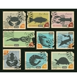 stamps with sea animals vector image vector image