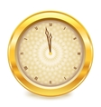 Golden glossy new year clock vector image