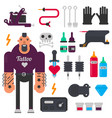 tattoo master and tattooing tools icons set vector image vector image