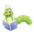 A smiling worm reading vector image vector image