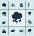 climate icons set collection of colors wet vector image