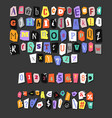 colorful newspaper alphabet hand made anonymous vector image